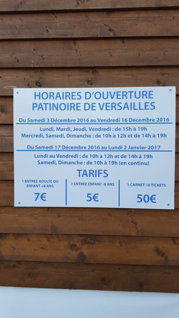 HORAIRES : PATINOIRE DE VERSAILLES 2016 – 2017